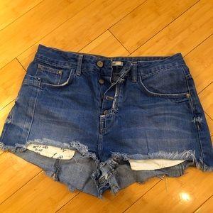 Zara denim shorts, button fly